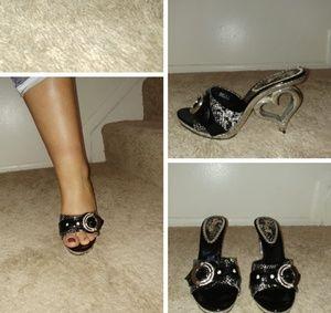 Black and Cream heels